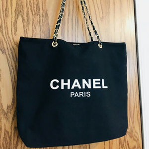 Chanel Canvas Tote Bag Shoulder Bag VIP NEW Black